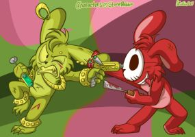 Bunny Fight - Art Trade by LambityMoon