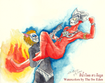 Alien Magma breaks Ultraman Leo Kick by sw-eden