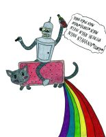 Bender and Nyan Cat by TheFutterwacken