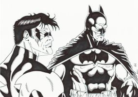 Batman and Nightwing Ink by TyndallsQuest