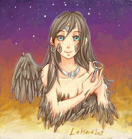 Godess Crow with silver key by Lahara