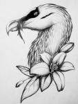 Bearded Vulture and Lillies by Scura