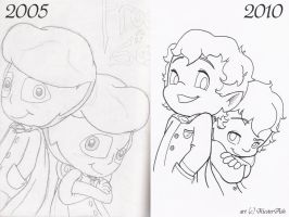 Frodo and Sam: Then and Now by KicsterAsh