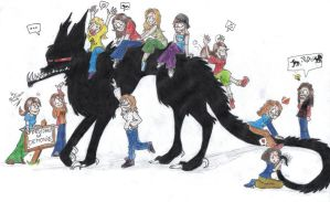 11 girls and Beast by punki123