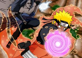Naruto vs Sasuke by Salty-art