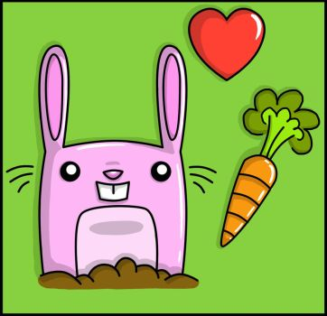 Pink Bunny Loves Carrot by bunnybiscuit