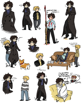 Sherlock doodles by Squidbiscuit