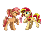 Whinny City: Sunset Shimmer and DeeDee by Sciggles