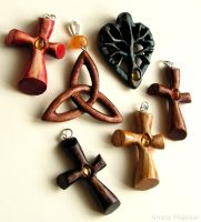 Carved Wooden Pendants by AmberSculpture