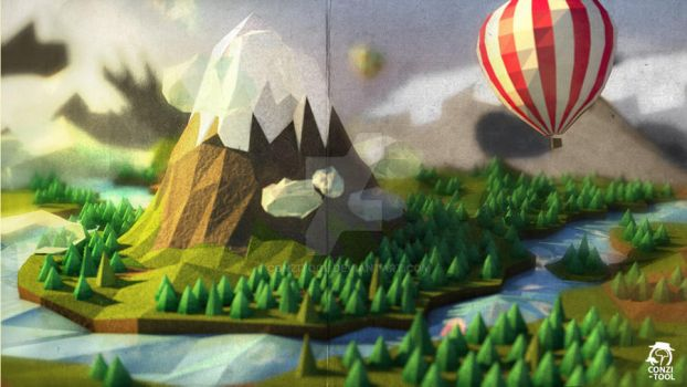 The 5 357 32 low poly landscape conzitool 275 49 the red mountains