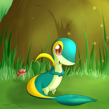 Ojimori the shiny snivy by JollyThinker
