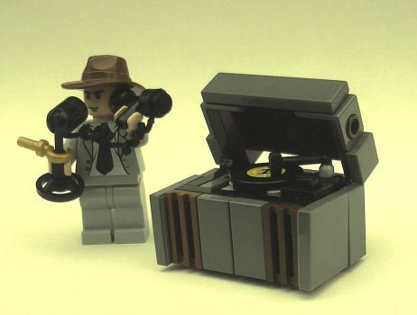 Minifigure-scale antique telephone and phonograph by Mister-oo7