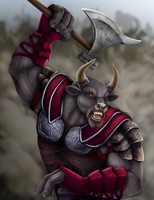 Khoreth, Minotaur Warrior by DragonosX
