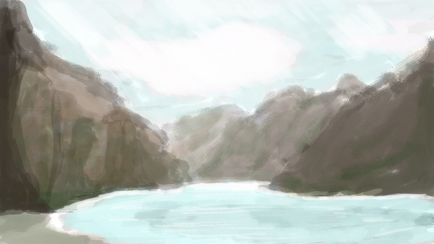 Speed paiting 1 Mountains and baby lake by caseharts
