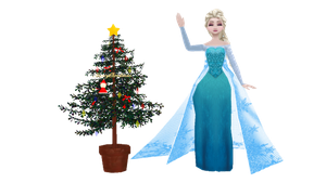 [MMD] Elsa with Christmas tree by SuperMarcosLucky96