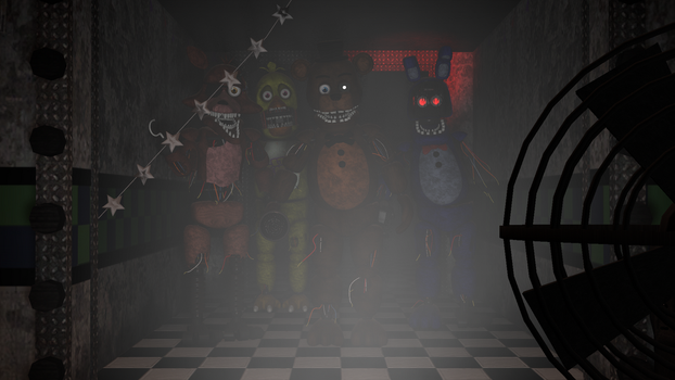 All Withered animatronics looking at you by candy-x-cindy