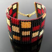 Bead loomed cuff with rectangle pattern by CatsWire