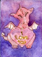 I Love You Vday Dragon ACEO by Starrydance