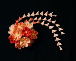 Beautiful Orange Sunset Kanzashi 158 by japanesesilkflowers