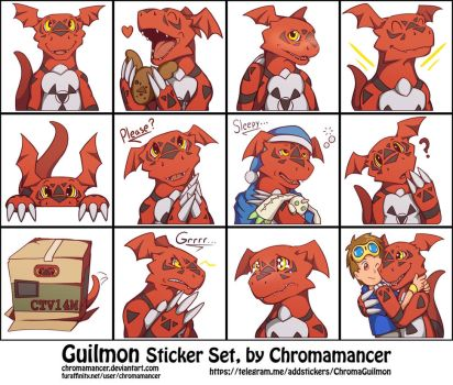 Guilmon Sticker Set by Chromamancer