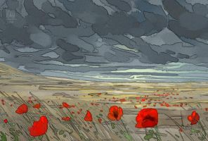 Poppies In The Storm by hyokka