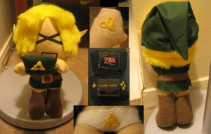 Link Plushie playing DS by LunarJadeStyles