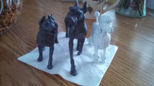 Breyer Poodle, Pitbull, and Giant Schnauzer WIP by Megido23