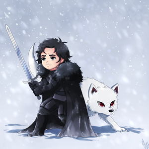 Jon Snow and Ghost by xXUnicornXx