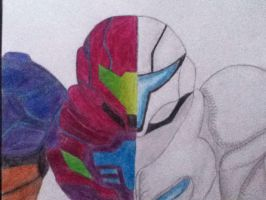 Half Samus and Dark Samus by UltimateShadowZeroX