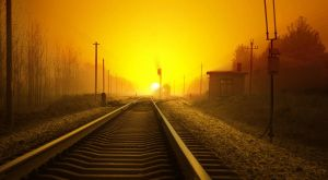 Sunset Railroad 16055396 by StockProject1