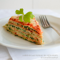 Crepes lasagne with spinach and tomato sauce by Pokakulka