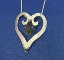 Heart Pendant with Kiwi Quarts by GipsonDiamondJeweler