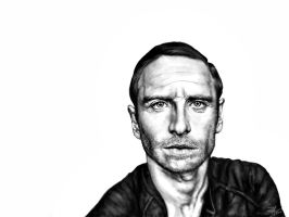 Michael Fassbender - Black and White by zophie