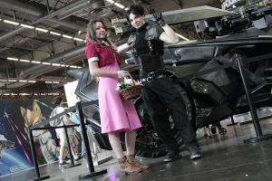Aerith and Zack ~ Japan Expo 2015 by Dragunova-Cosplay