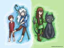 Genderbended Jack Frost and Hiccup Haddock by melofarce