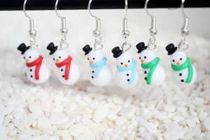 Polymer Clay Snowman Earrings - Handmade Jewellery by Linnypig