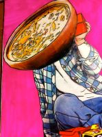 the boy with a cereal bowl head by ununquadius