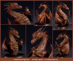 Commission : Red Dragon Bust by emilySculpts