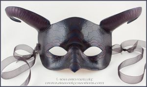 Scaled Ram's Horn Dragon Mask, Dark Purple by EirewolfCreations