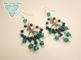 Teal Dragonfly Earrings by TheSortedBead