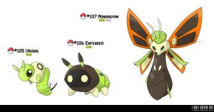 105, 106, 107: Monarch Fakemon by LeafyHeart