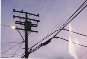 Power Lines with Light Pole and Light Leak (?) by MegaBunneh