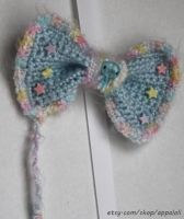 Appaloli: Fluffy Pastel Rainbow Blue Crochet Bow by Appaloli