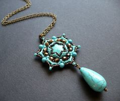 Lotus flower pendant by moonsafaribeads