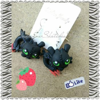 Earrings of toothless handmade polymer clay by DarkettinaMarienne
