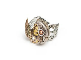 Winged Steampunk Ring - Topaz by doodle-moose