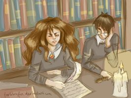 Harry and Hermione in the library by Lumedin