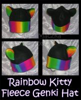Rainbow Kitty Fleece Genki Hat by ZenAndCoffee