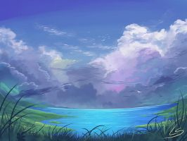 Practice piece: Cloudy lake by Dea-89