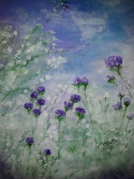 the violet flowers,oil on canvas,40x50# by irmaGallerys